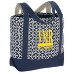 Designer Accent Gusseted Tote Bag - Sailing Compass